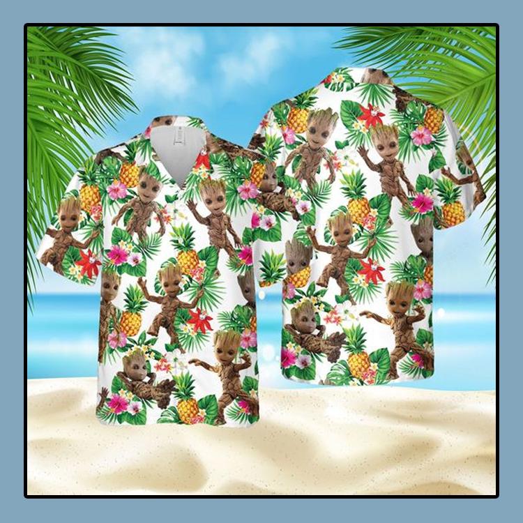 Groot pineapple hawaiian shirt and short1
