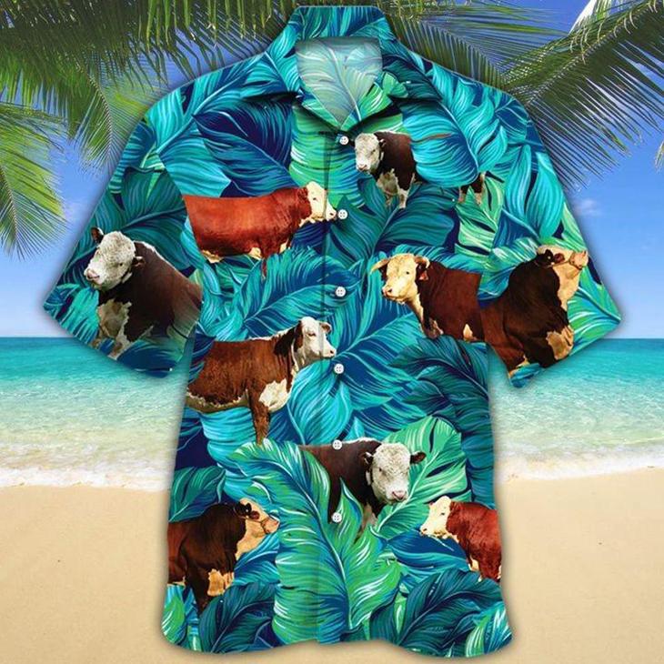 Hereford Cattle Lovers Hawaiian Shirt