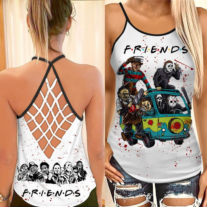 Horror Characters friends TV criss cross strappy tank top