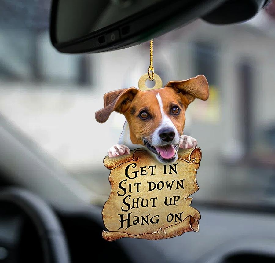 Jack Russell Terrier get in sit down shut up hang on ornament