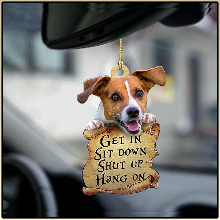 Jack Russell Terrier get in sit down shut up hang on ornament1