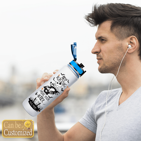 Jack Skellington Stop slacking drink your water custom name tracker bottle2