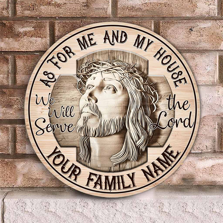 Jesus As For Me And My House Custom Name Wood Sign1