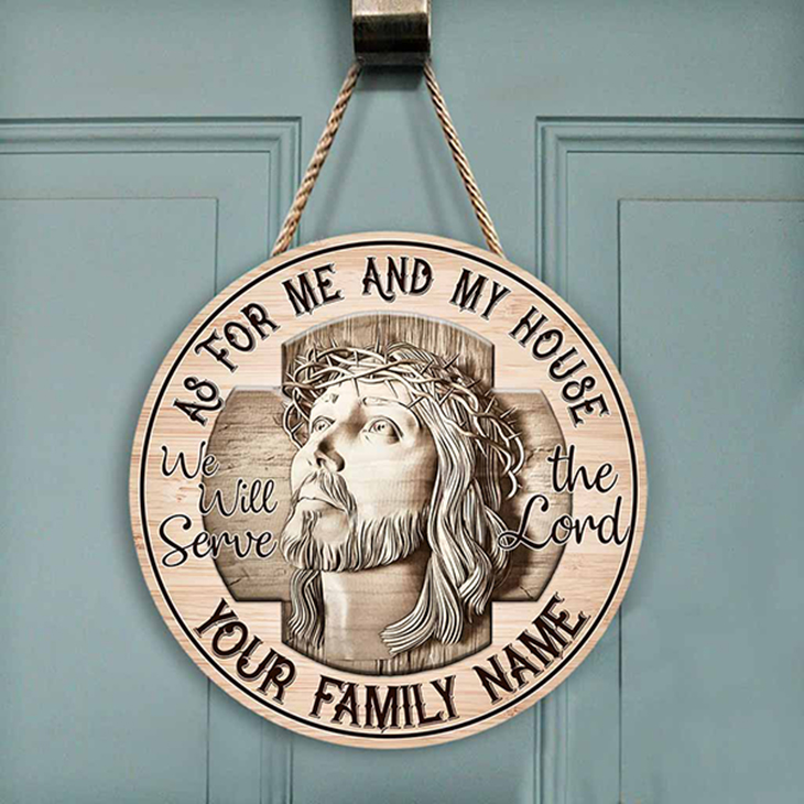 Jesus As For Me And My House Custom Name Wood Sign3