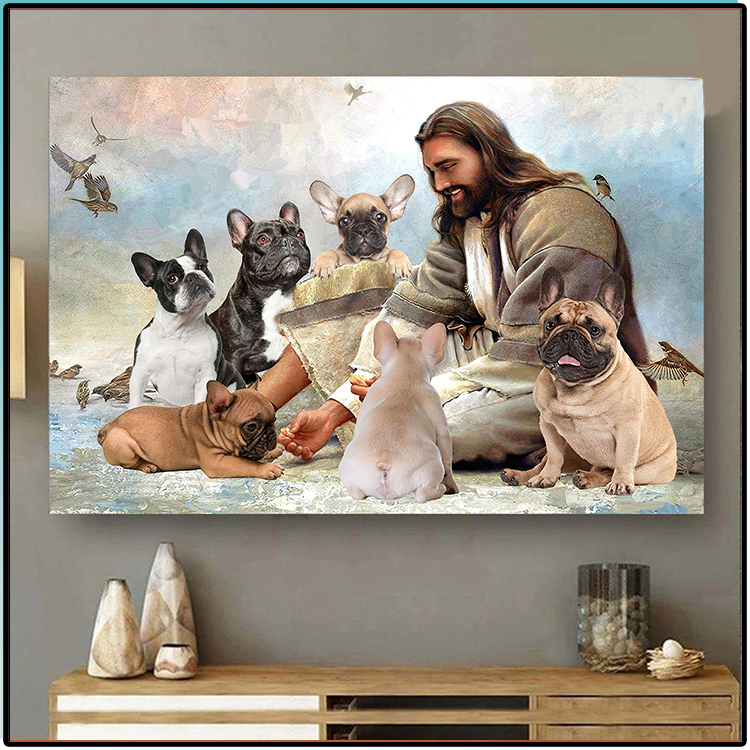 Jesus God Surrounded By French Bulldog Angels Poster1