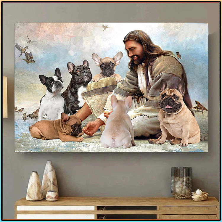 Jesus God Surrounded By French Bulldog Angels Poster2