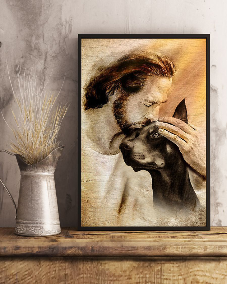 Jesus With Lovely Doberman Pinscher Poster2
