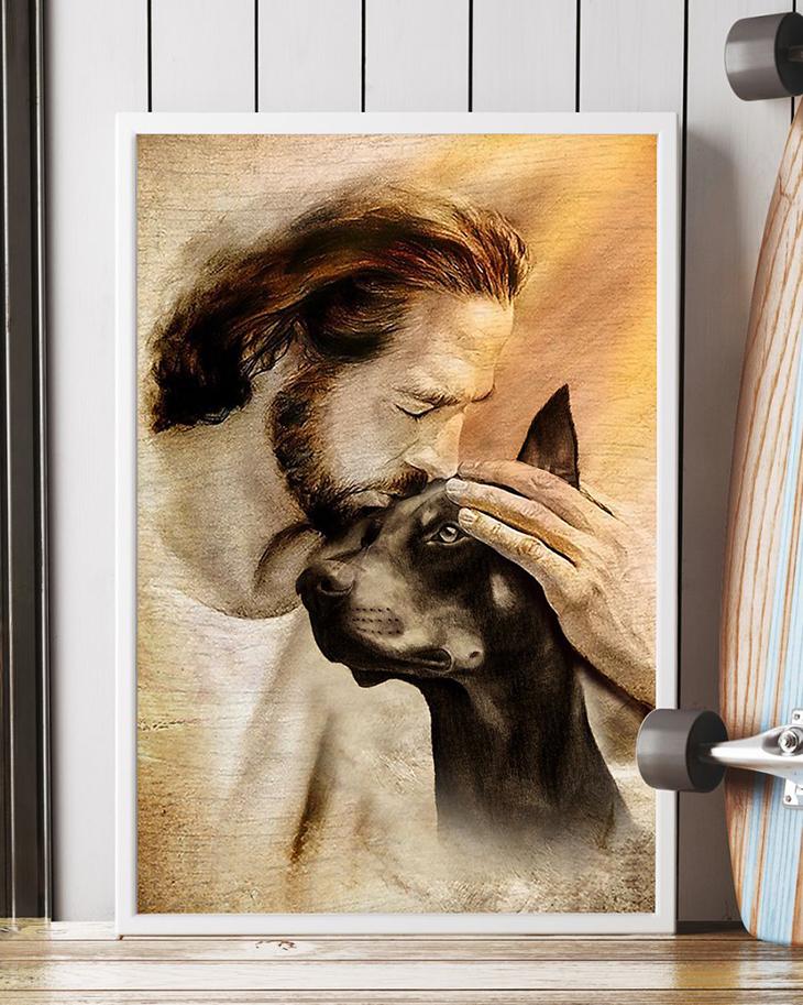 Jesus With Lovely Doberman Pinscher Poster3