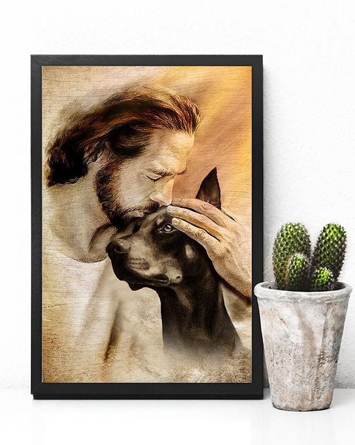 Jesus With Lovely Doberman Pinscher Poster4