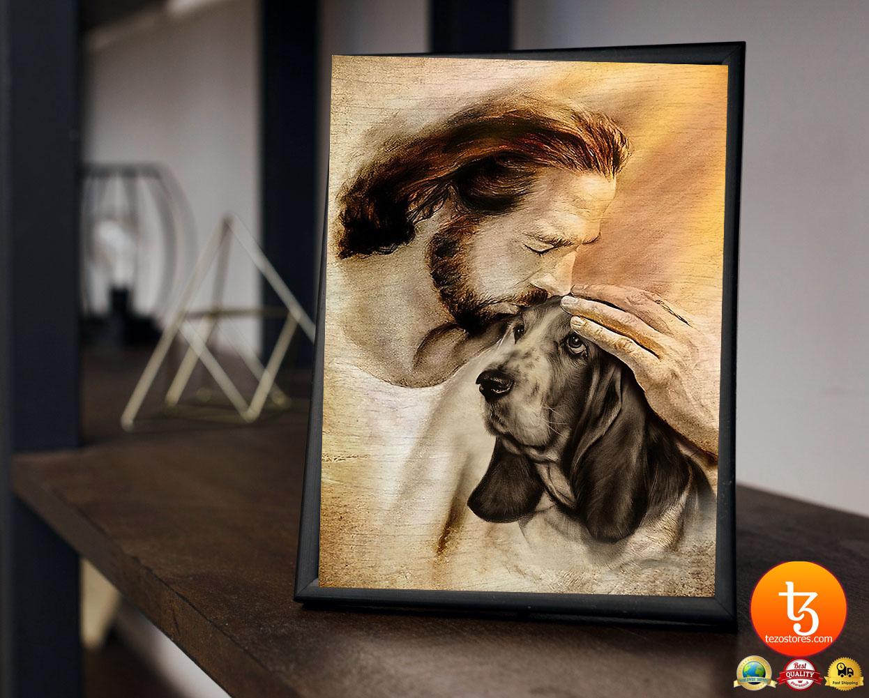 Jesus with Basset hound poster3