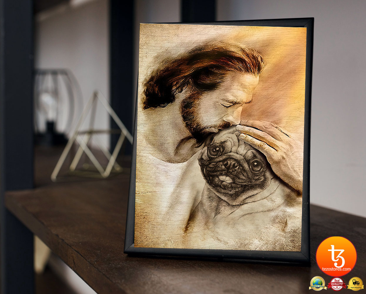 Jesus with pug dog poster3