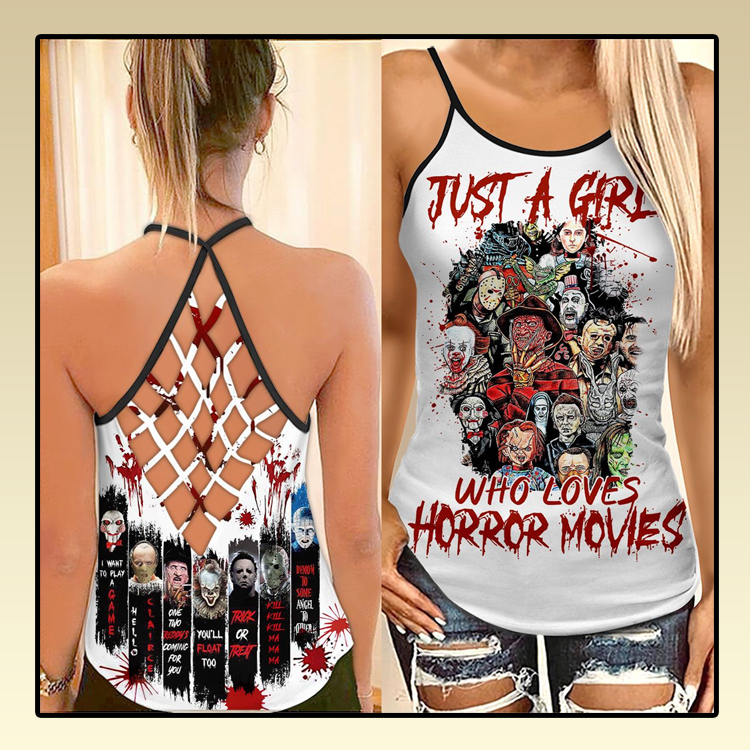 Just a girl who loves horror movies criss cross strappy tank top2