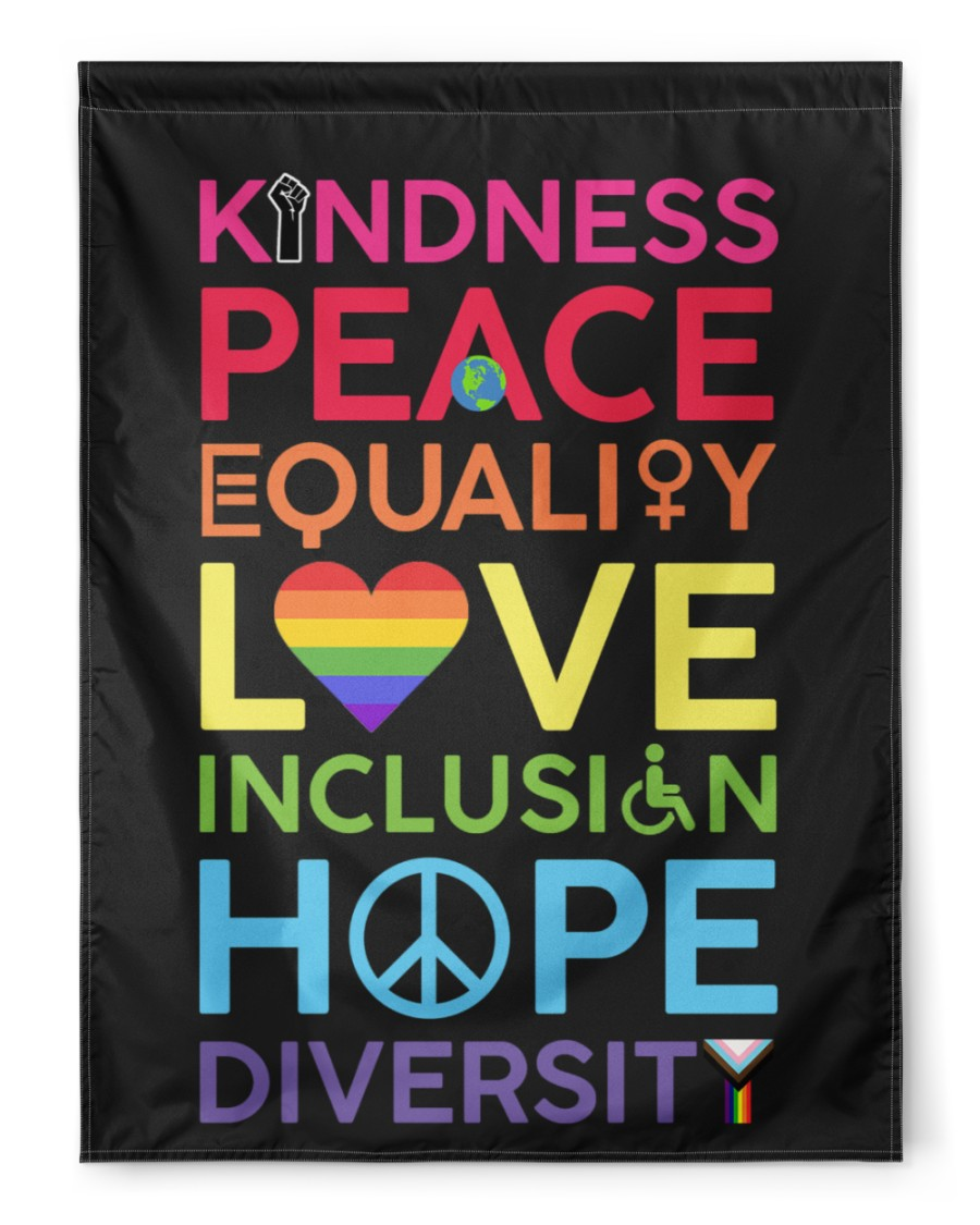 KinDness Peace Equality Love Inclusign Hope Diversity Flag3