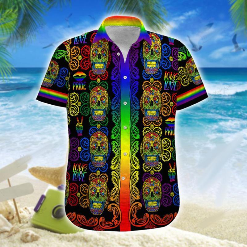 LGBT Skull Love Men And Women Hawaiian Shirt And Short 1