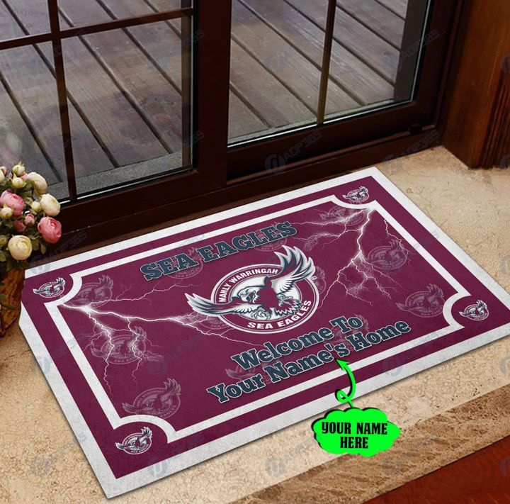 Manly Warringah Sea Eagles welcome to home custom name doormat