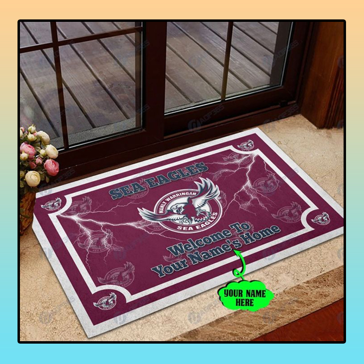 Manly Warringah Sea Eagles welcome to home custom name doormat1