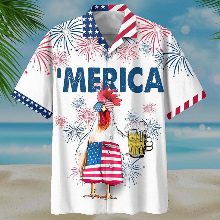 Merican Chicken Beer Hawaiian Shirt