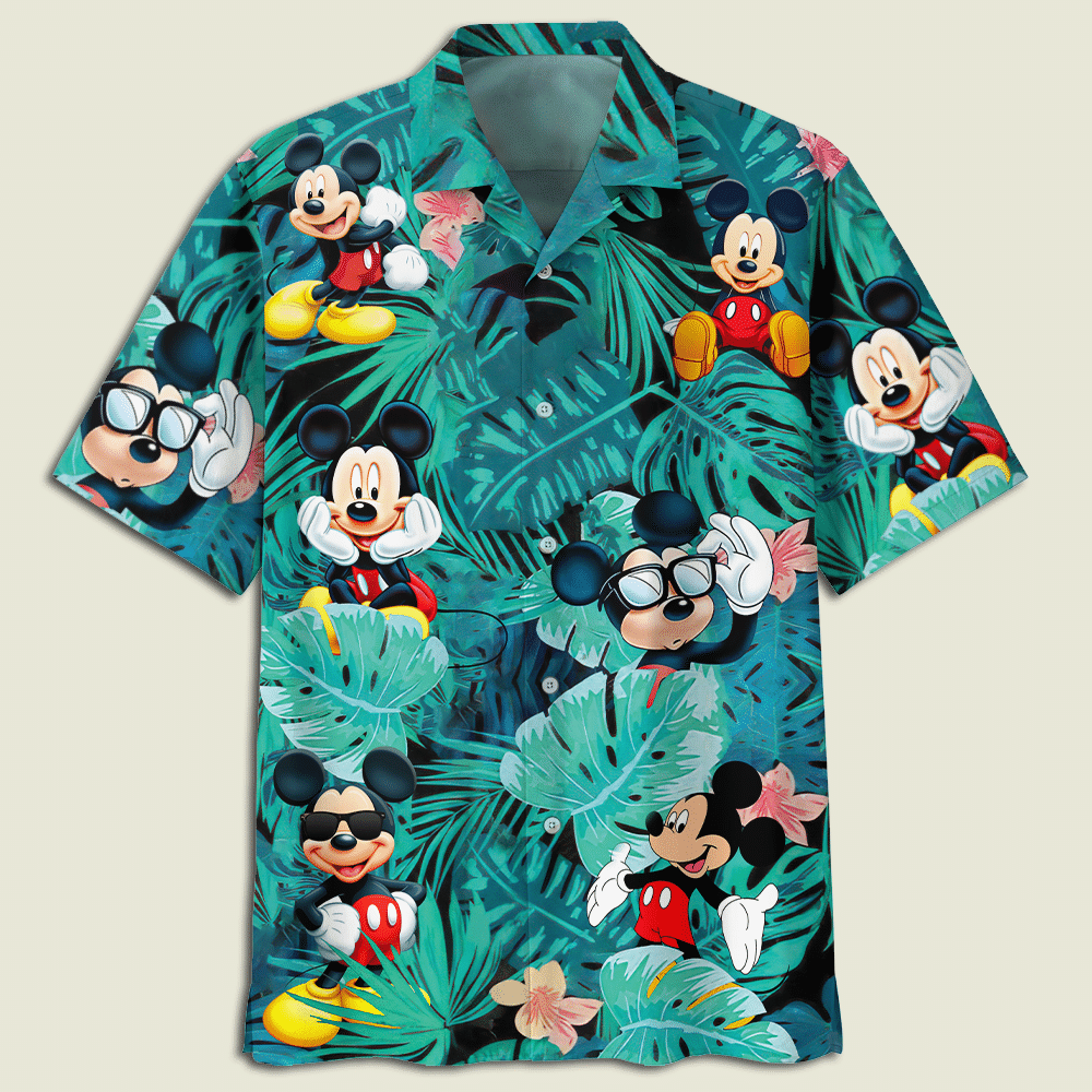 Mickey Mouse Flowers And Leaves Youth And Adult Hawaiian Shirt