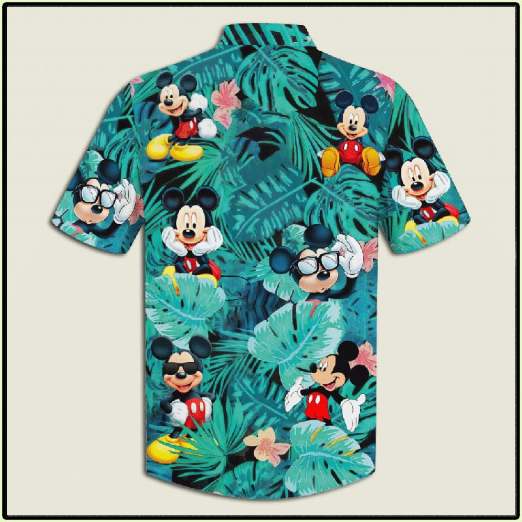 Mickey Mouse Flowers And Leaves Youth And Adult Hawaiian Shirt5
