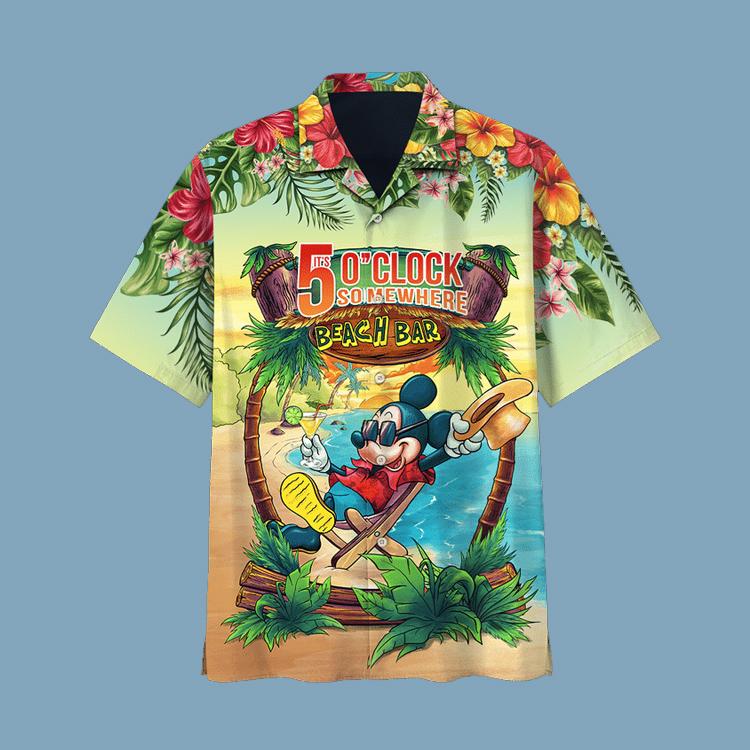 Mickey Mouse Its 5 OClock Somewhere Hawaiian Shirt1