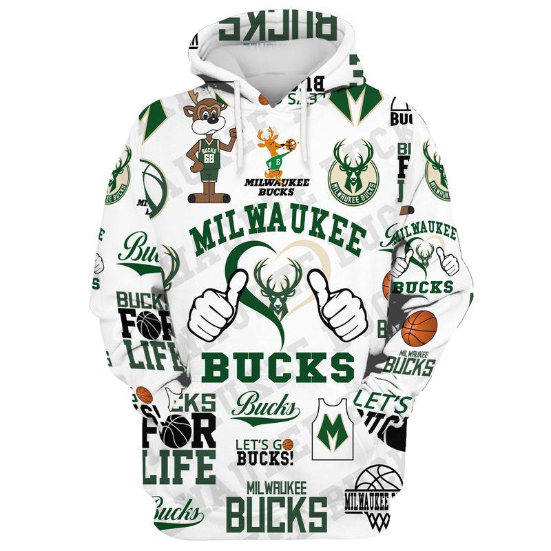 Milwaukee Bucks Lets Go Bucks 3D all over print Hoodie. shirt