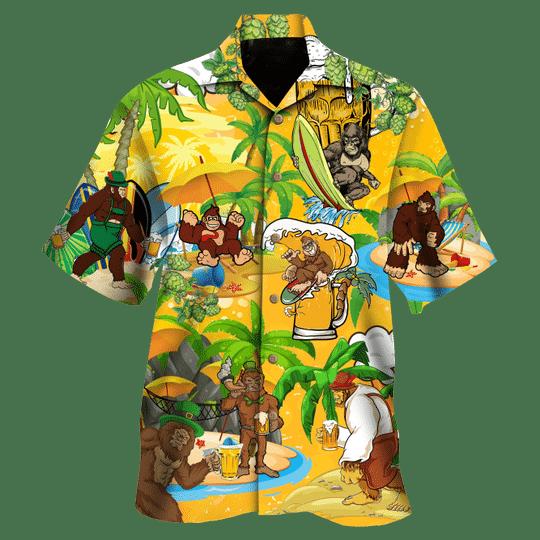 Monkey beer surfing hawaiian shirt
