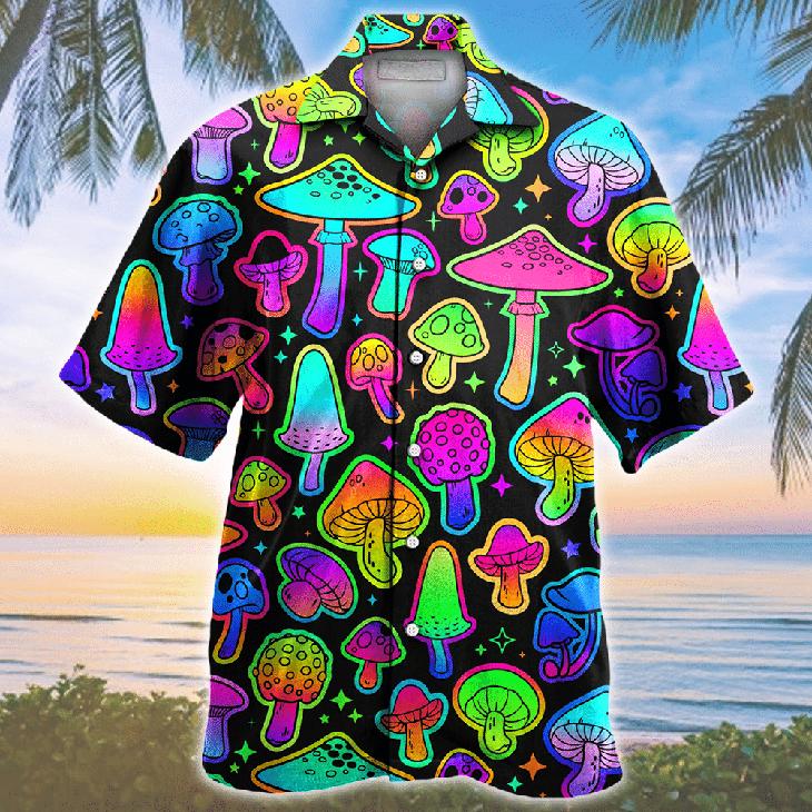 Mushroom Colorful Pattern Hawaiian Shirt1