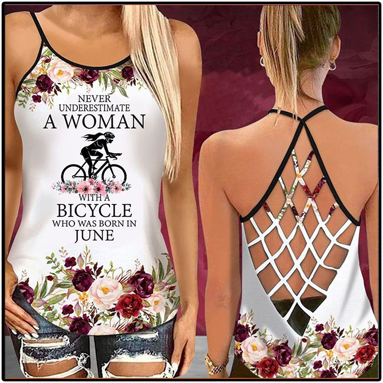 Never Underestimate A Woman With A Biycle Who Was Born In June Tank Top5