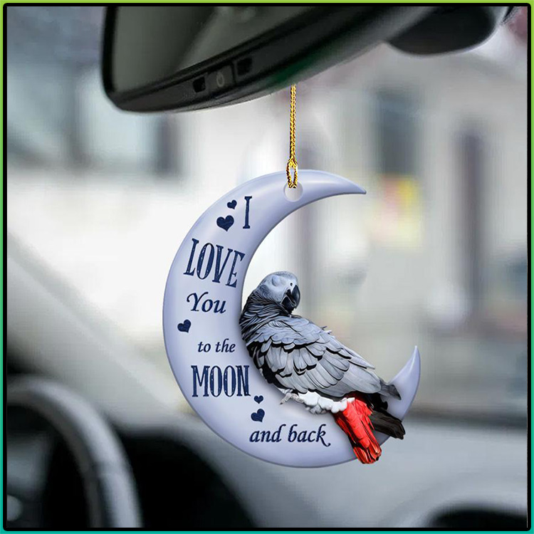 Parrot I Love You To The Moon And Back Ornament2