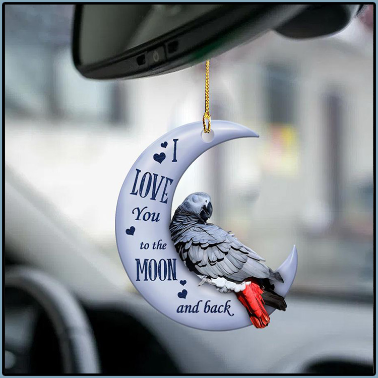 Parrot I Love You To The Moon And Back Ornament3