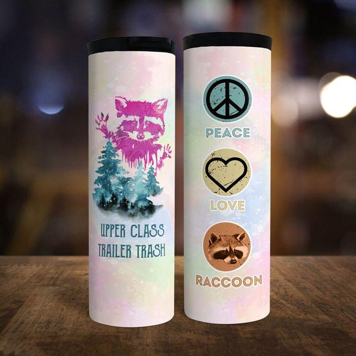 Peace love raccoon Upper class trailer trash Tracker Bottle