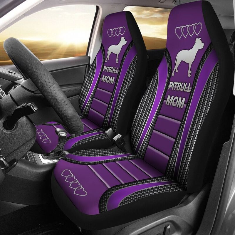 Pitbull Mom Seat Cover Purple
