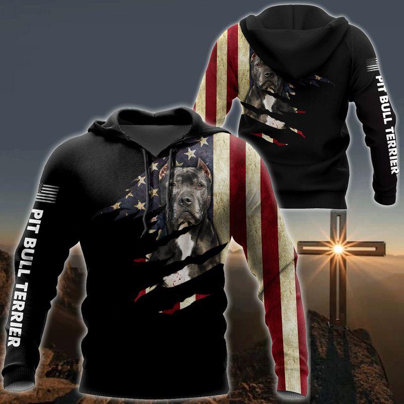 Pitbull dog usa flag 3D all over print hoodie