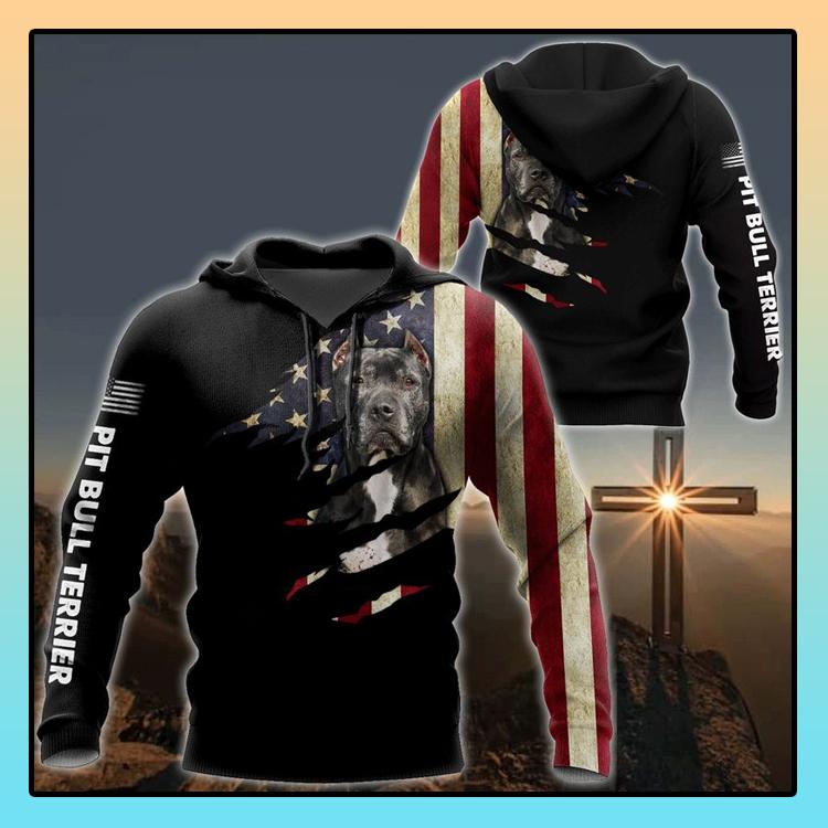 Pitbull dog usa flag 3D all over print hoodie4