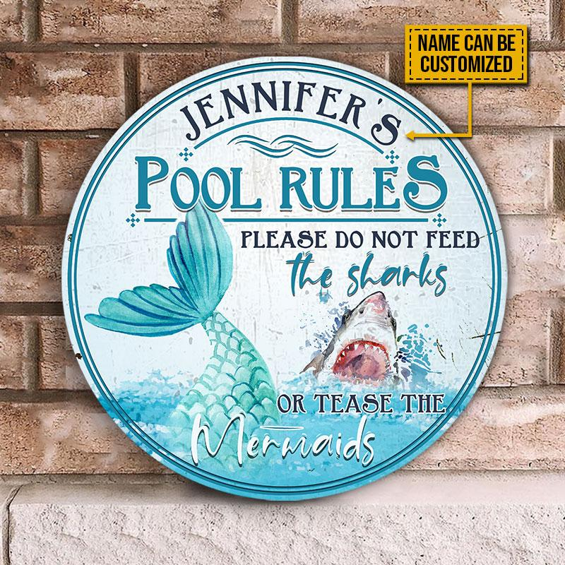 Pool Rules Please Do Not Feed The Sharks Or Tease The Mermaids Custom Wood Circle Sign1