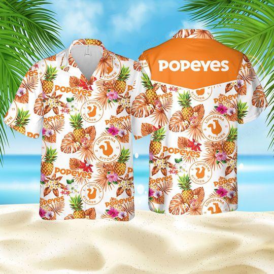 Popeyes pineapple kitchen Hawaiian Shirt and short