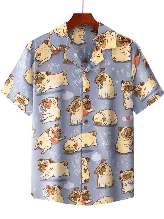 Pugs cute hawaiian shirt