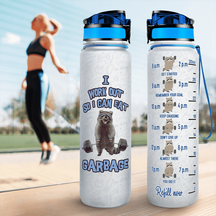 Raccoon I Work Out So i Can Eat Garbage Tracker water Bottle