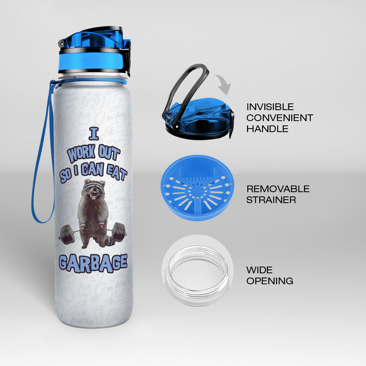 Raccoon I Work Out So i Can Eat Garbage Tracker water Bottle1