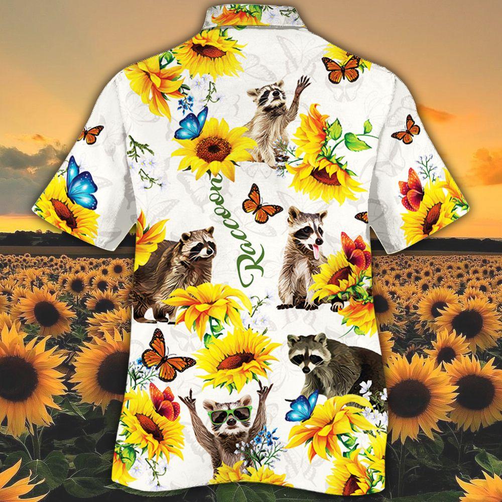 Raccoon Lovers Sun Flower Hawiian Shirt1