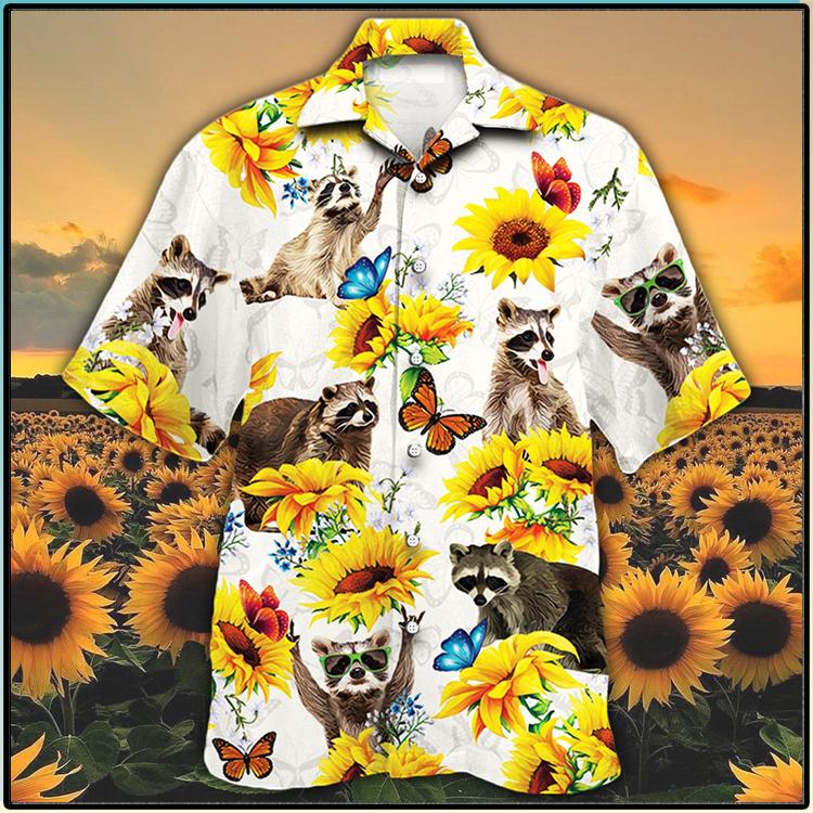 Raccoon Lovers Sun Flower Hawiian Shirt2