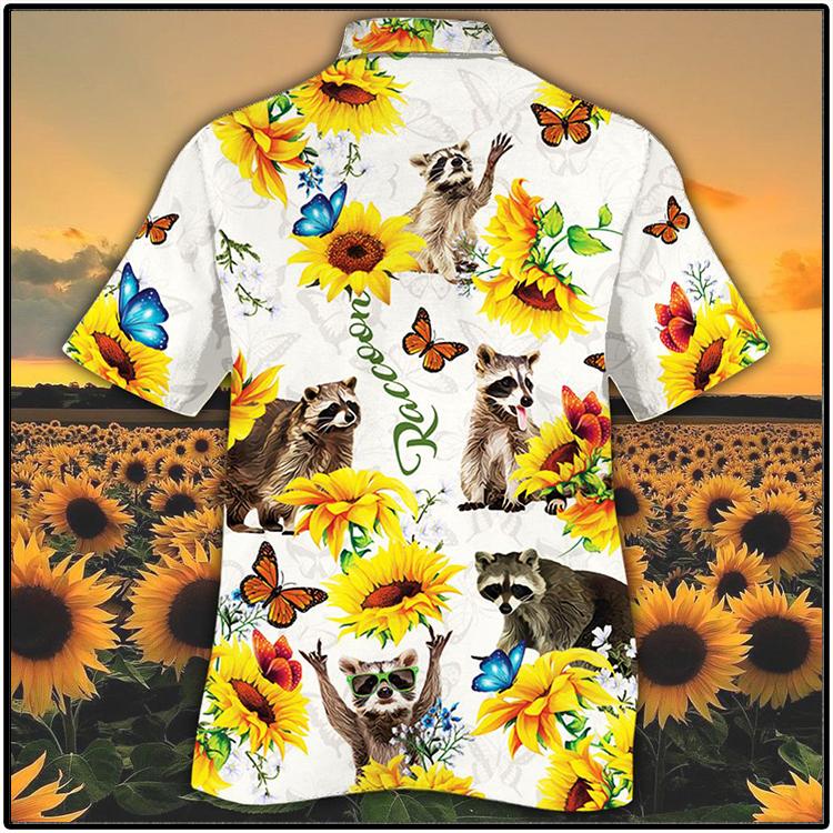 Raccoon Lovers Sun Flower Hawiian Shirt3