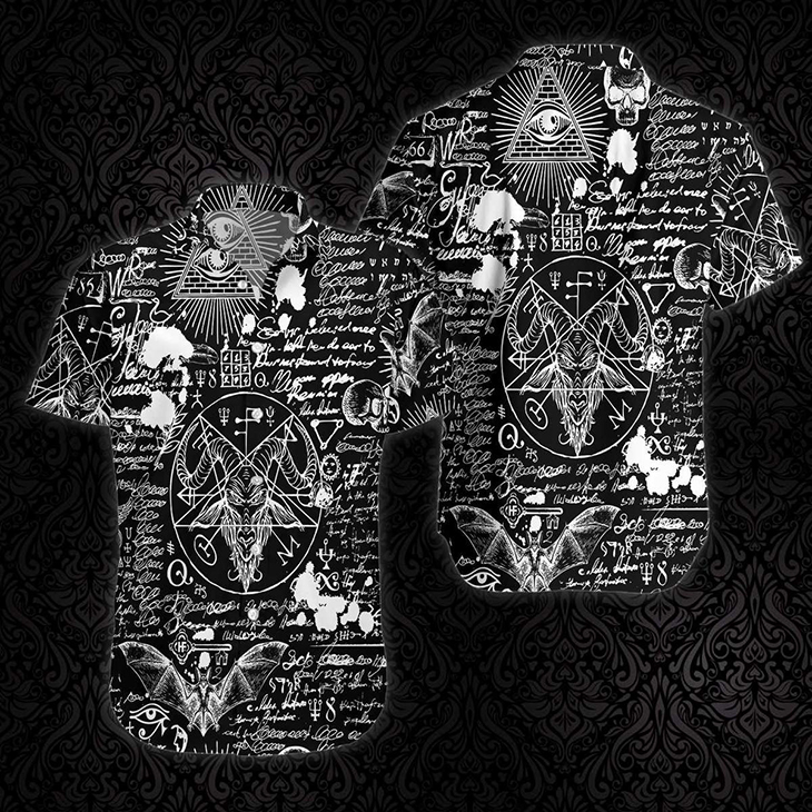Seamless Occultism Satanic Goth Hawaiian Shirt1