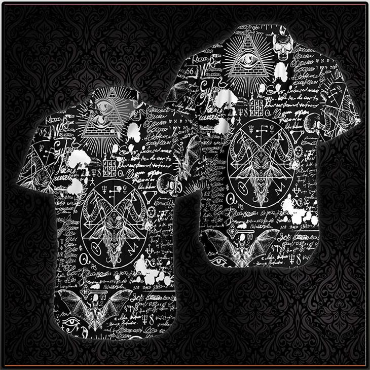 Seamless Occultism Satanic Goth Hawaiian Shirt2