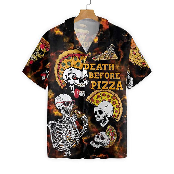 Sekleton Death Before Pizza Hawaiiian Shirt