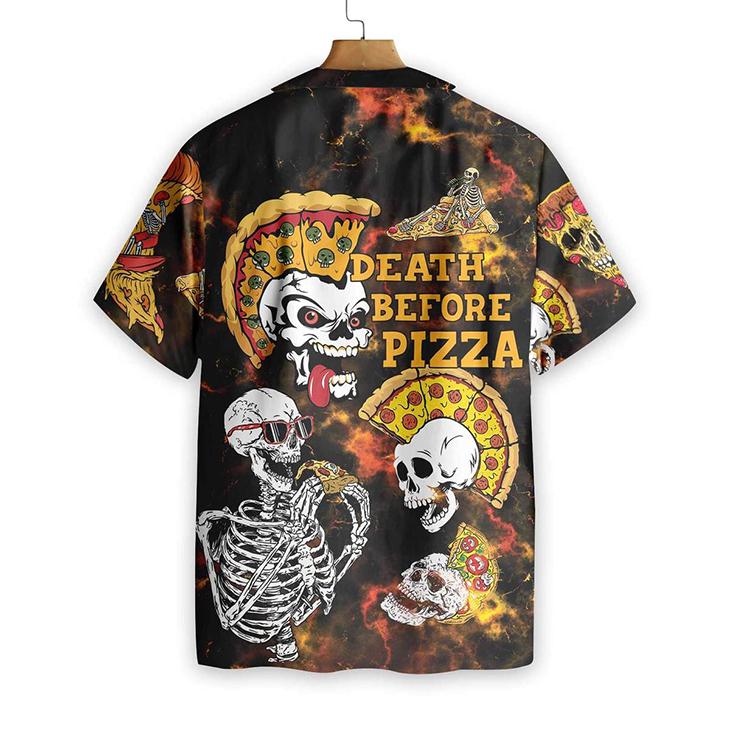 Sekleton Death Before Pizza Hawaiiian Shirt1