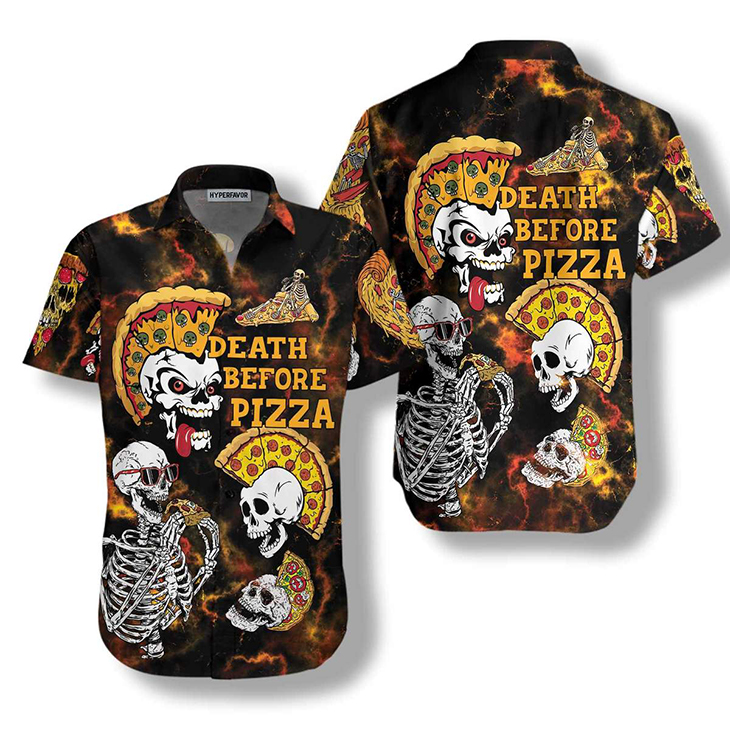Sekleton Death Before Pizza Hawaiiian Shirt3