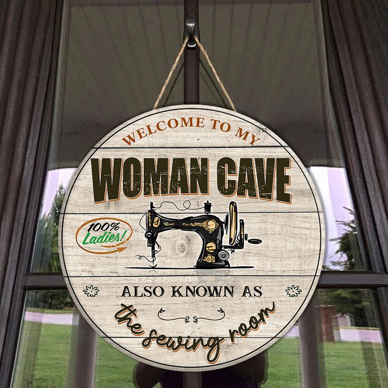 Sewing Round Wood Sign