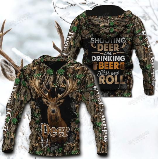 Shooting deer and dringking beer 3d hoodie