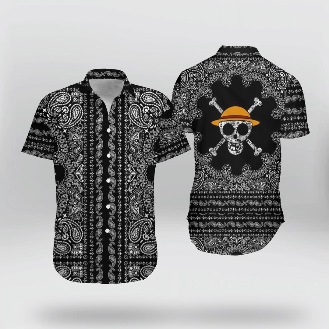 Skull Straw Hat One Piece Hawaiian Shirt And Short 1